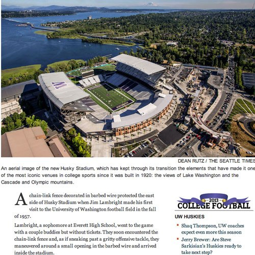 A screenshot of the opening art of a story, showing a new sports stadium on the shore of Lake Washington