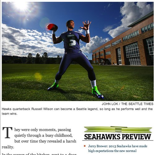 A screenshot of the opening art of a story, showing Seahawks quarterback Russell Wilson