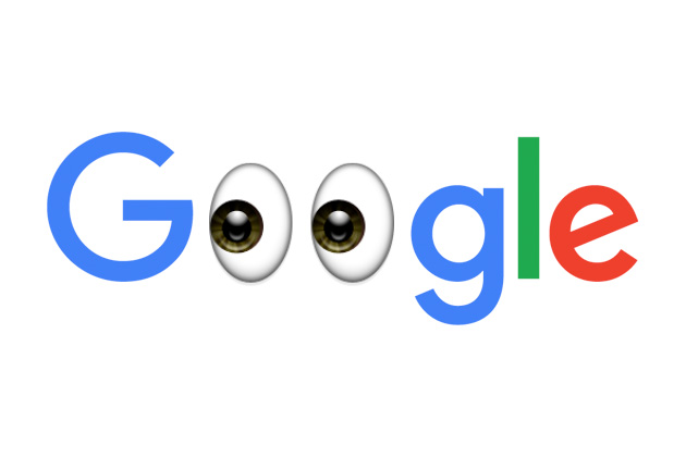 Google logo with eyeballs instead of O's