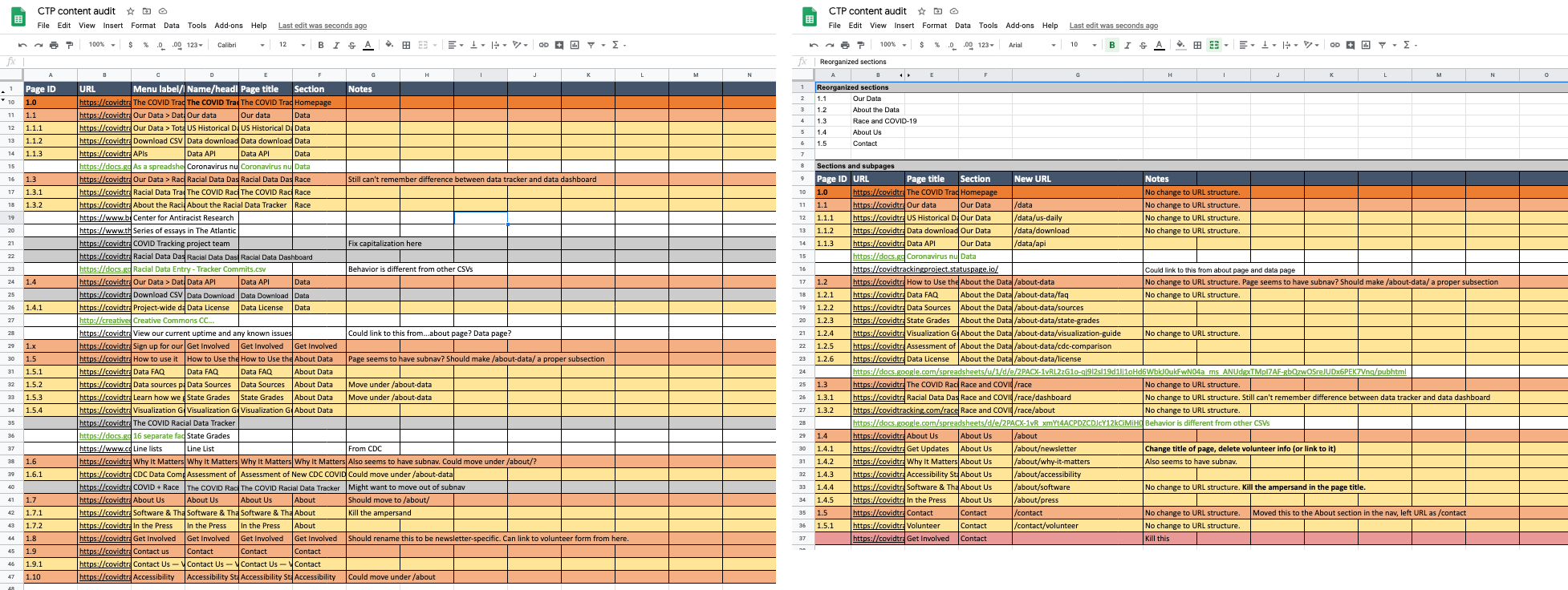 Two screenshots side-by-side, showing two spreadsheets with colored cells. The spreadsheet on the left is longer and the colors are out of order. The spreadsheet on the right is shorter and the colors are in order.